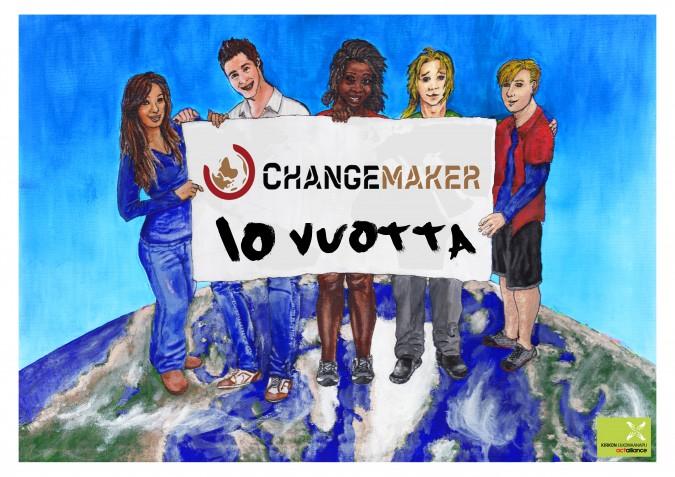 Piirretty mainosjuliste, jossa nuoret seisovat maapallon päällä ja kannattelevat Changemaker 10-vuotta-banderollia