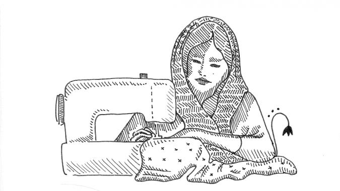 Piirroskuva: nainen ja ompelukone