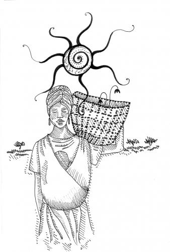 piirroskuva: nainen kantaa lasta ja koria