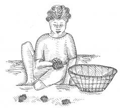 piirroskuva: lapsi ja kori
