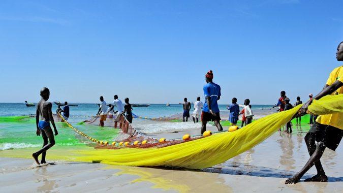 Senegalilaisia kalastajia rannalla verkon kanssa