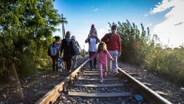 Refugees crossing the Hungarian border