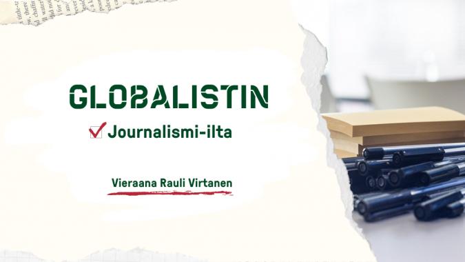 Globalistin journalismi-lta: vieraana Rauli Virtanen. Kuvassa muistilappuja ja kyniä pöydällä.