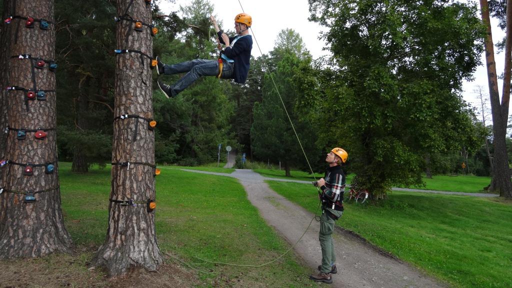 Loppupäivästä Changemakerit kiipeilevät puissa.