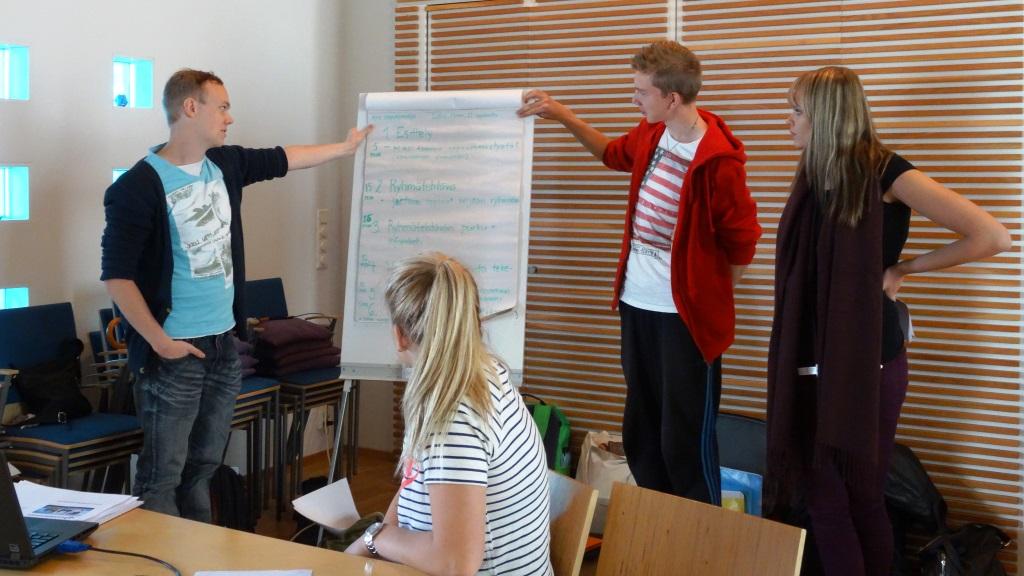 Ryhmät esittelevät suunnittelemansa kouluvierailut kaikille osallistujille.
