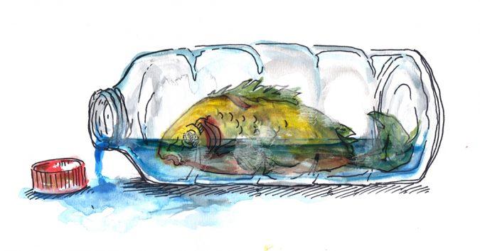 Vesivärimaalaus: Huonosti voiva kala muovipullossa.