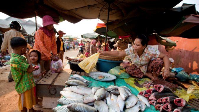 Nainen myy torilla kalaa Kambodžassa