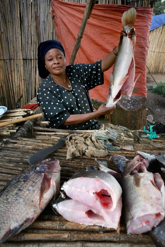 Nainen myy kalaa torilla Kongossa