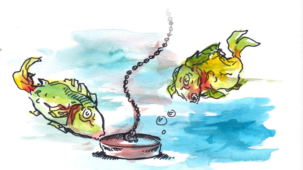 Vesivärimaalaus: Kaksi kalaa tulpan luona