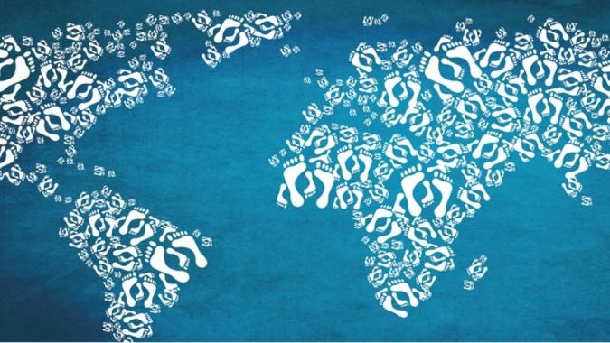 jalanjälki-kuviosta tehty maailmankartta