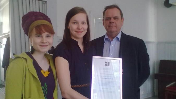 Suomen Kristillinen Rauhanliike myönsi Changemakerille rauhanpalkinnon vuonna 2012