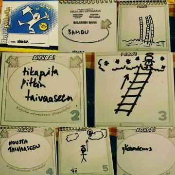 Huhupuheita -pelin kuvia ja arvauksia